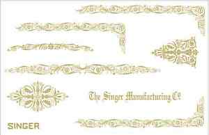 Custom Singer Featherweight 221 Sewing Machine Restoration Decals Gold Filigree