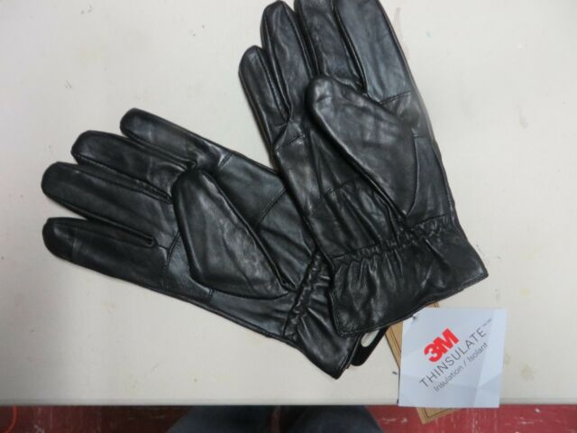 Mens Thinsulate Genuine Leather Gloves,Black