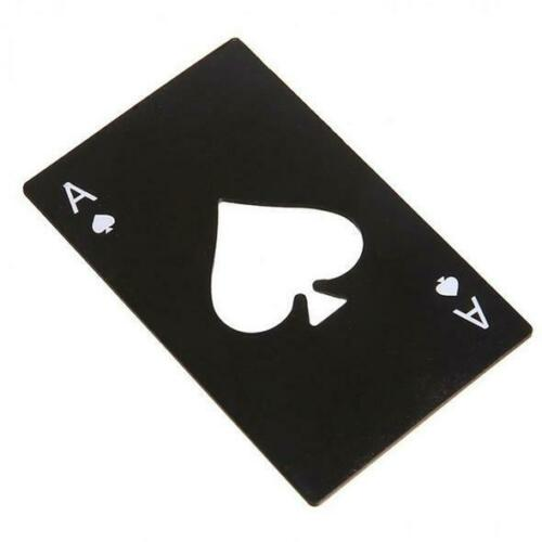Ace of Spades Playing Card Stainless Steel Bottle Opener Black or Silver NIP