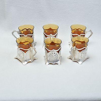 Antiques Silver Plated, Wmf Ivy Set Of 6 Art Nouveau Tea Glass Holder/tea Glasses