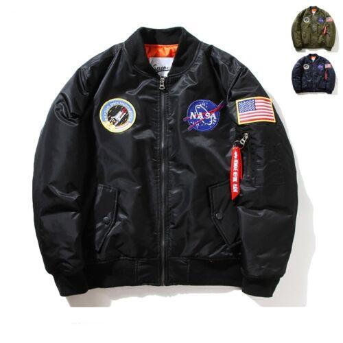 Nasa Bomber Jacket Mens Women Pilot MA1 Coat Flight Air Force Baseball Outwear##