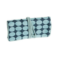 Manumit Fair Trade Padded Jewellery Travel Roll Zip Pocket Blue Circle Fabric