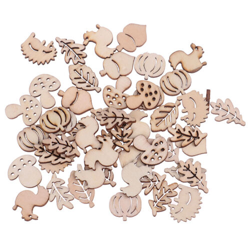 50 piezas de ardilla artesanal de madera mixta deja forma de hongo decoración QA