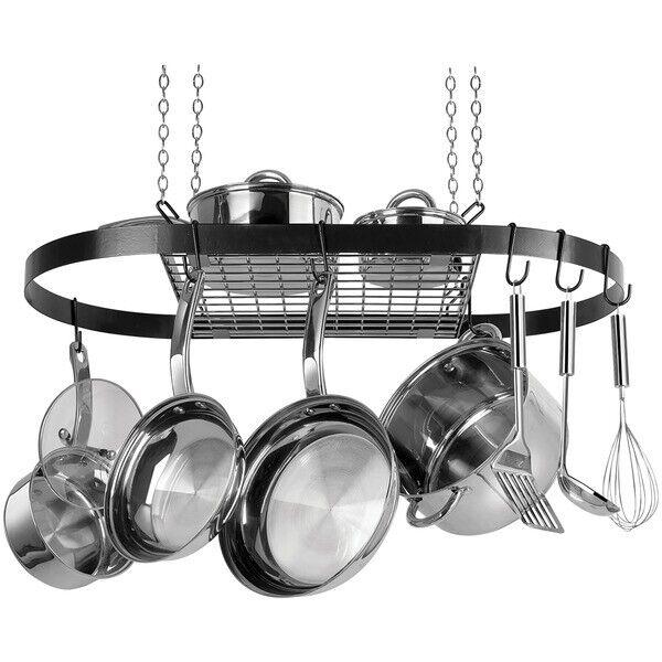 Range Kleen Oval Hanging Pot Rack In Black for sale online ...