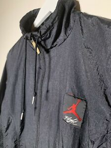 VINTAGE-NIKE-AIR-JORDAN-FLIGHT-WINDBREAKER-JACKET-SZ-M-BLACK-90s-MENS-RARE