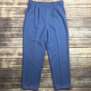 St-John-Collection-Sz-8-Blue-Santana-Knit-Pleated-Pants-w-Pockets