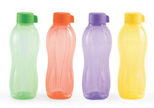 TUPPERWARE-AQUASAFE-WATER-BOTTLES-1-LTR-1000-ML-4-PCS-New-Colors