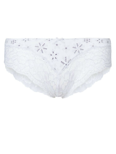 M /& S size 14 Lace Brazilian Knickers Panties Briefs floral print White