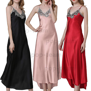 Womens-Ladies-Sexy-Lace-Long-Silk-nightgowns-Stain-Chemise-Sleepwear-Lingerie