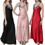 Womens-Ladies-Sexy-Lace-Long-Silk-nightgowns-Stain-Chemise-Sleepwear-Lingerie miniature 1