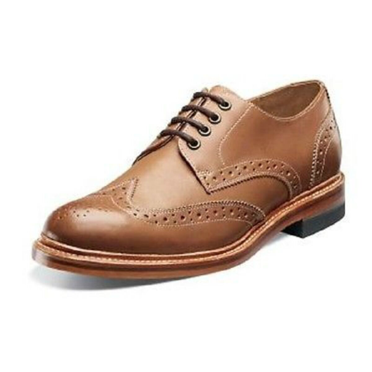 Stacy Adams Madison II Mens Wing Tip Oxford Tan Leather Dress shoes 00061-240