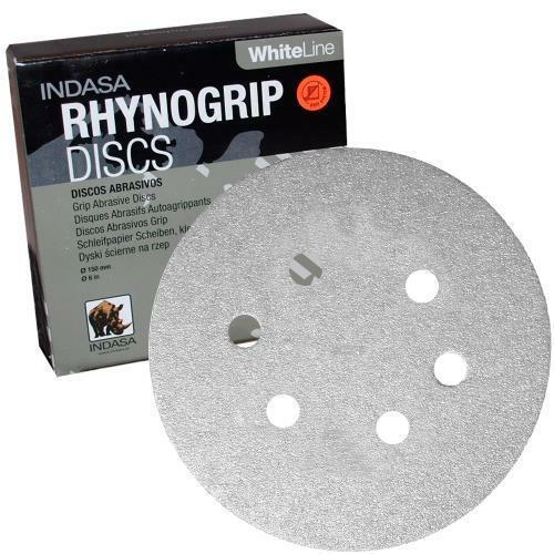 "Box of 50 6/"" 6 Hole Rhynogrip Hook /& Loop Discs 36 Grit AOIndasa 62-36"