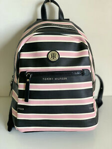 NEW-TOMMY-HILFIGER-BLACK-BLUSH-PINK-STRIPES-MINI-TRAVEL-BACKPACK-BAG-89-SALE