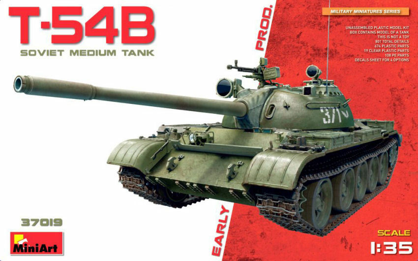 T-54b Soviet Medium Tank Early Production Plastic Kit 1 35 Model MINIART