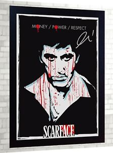 Scarface-Al-Pacino-MOVIE-signed-PRINT-Canvas-100-cotton-Framed