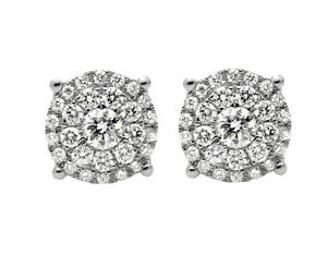 10K-Yellow-Gold-Solitaire-Accent-8MM-Halo-Flower-Round-Diamond-Stud-Earring-1CT