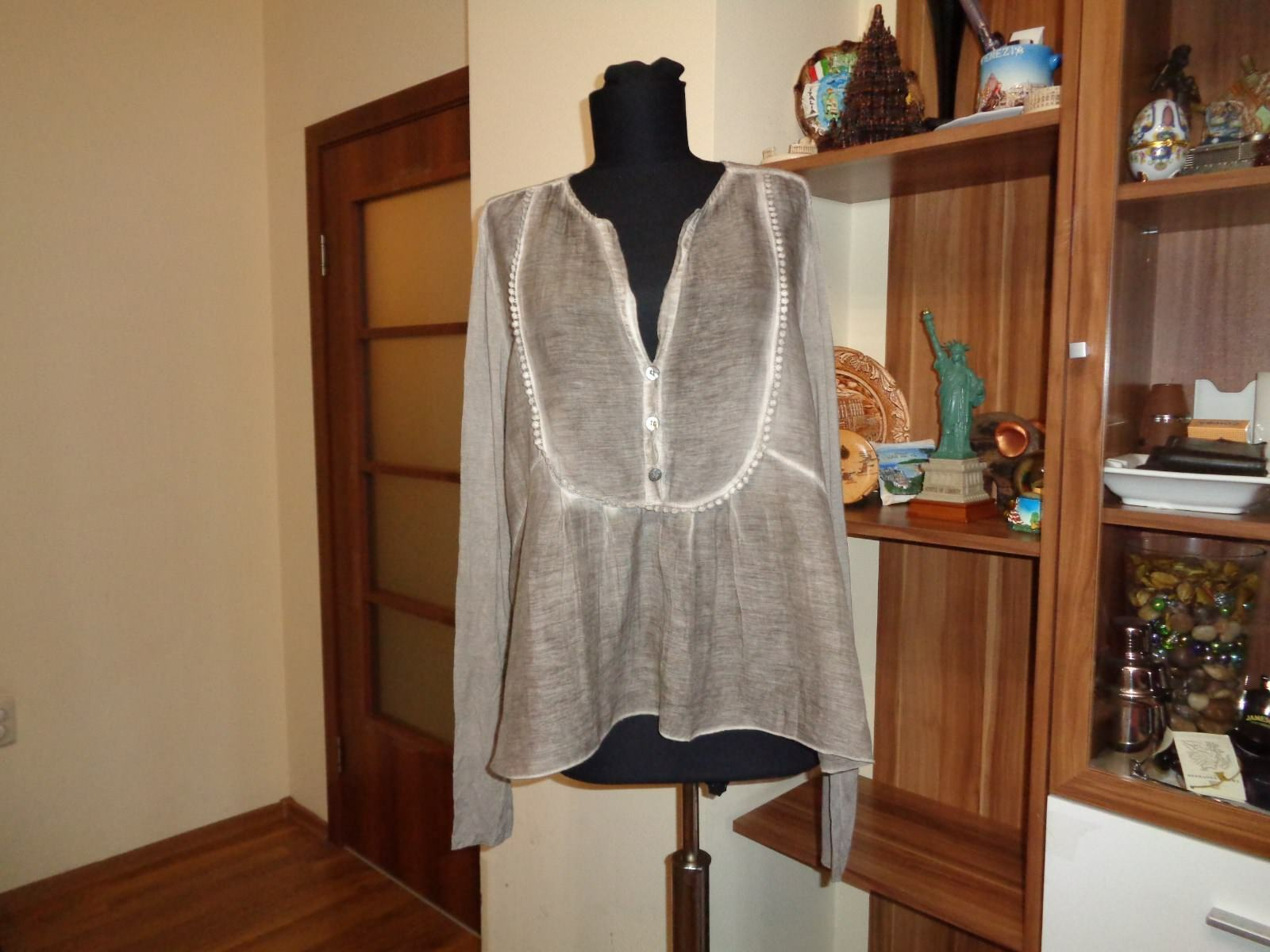 PROJECT AJ 117 COTTON BLEND WASHED TAUPE RELAXED SHORT BLOUSE MADISON-SIZE L