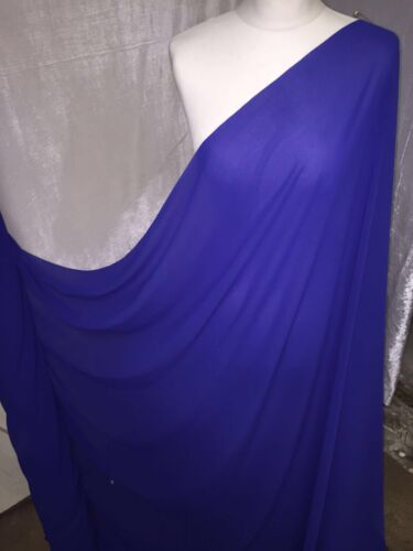 "1 MTR QUALITY ROYAL BLUE GEROGETTEE CREPE BRIDAL CHIFFON FABRIC...58/"" WIDE £3.00"