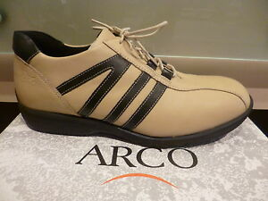 Arco Men's Lace-Up Sneakers Trainers Beige/Black 62% Reduced New