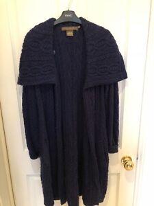 Twist M taglia Cardigan lungo blu in navy Knit lana nxwXqF1Tw
