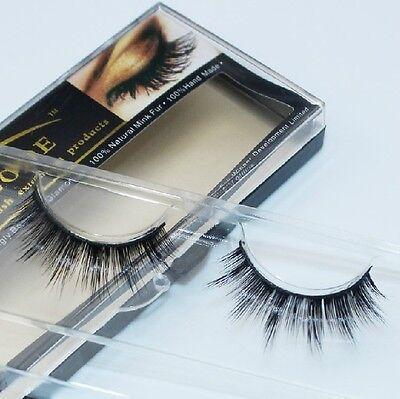 RMZ024# 1Pair Makeup Handmade Natural Mink Hair Thick Eye Lashes False Eyelashes