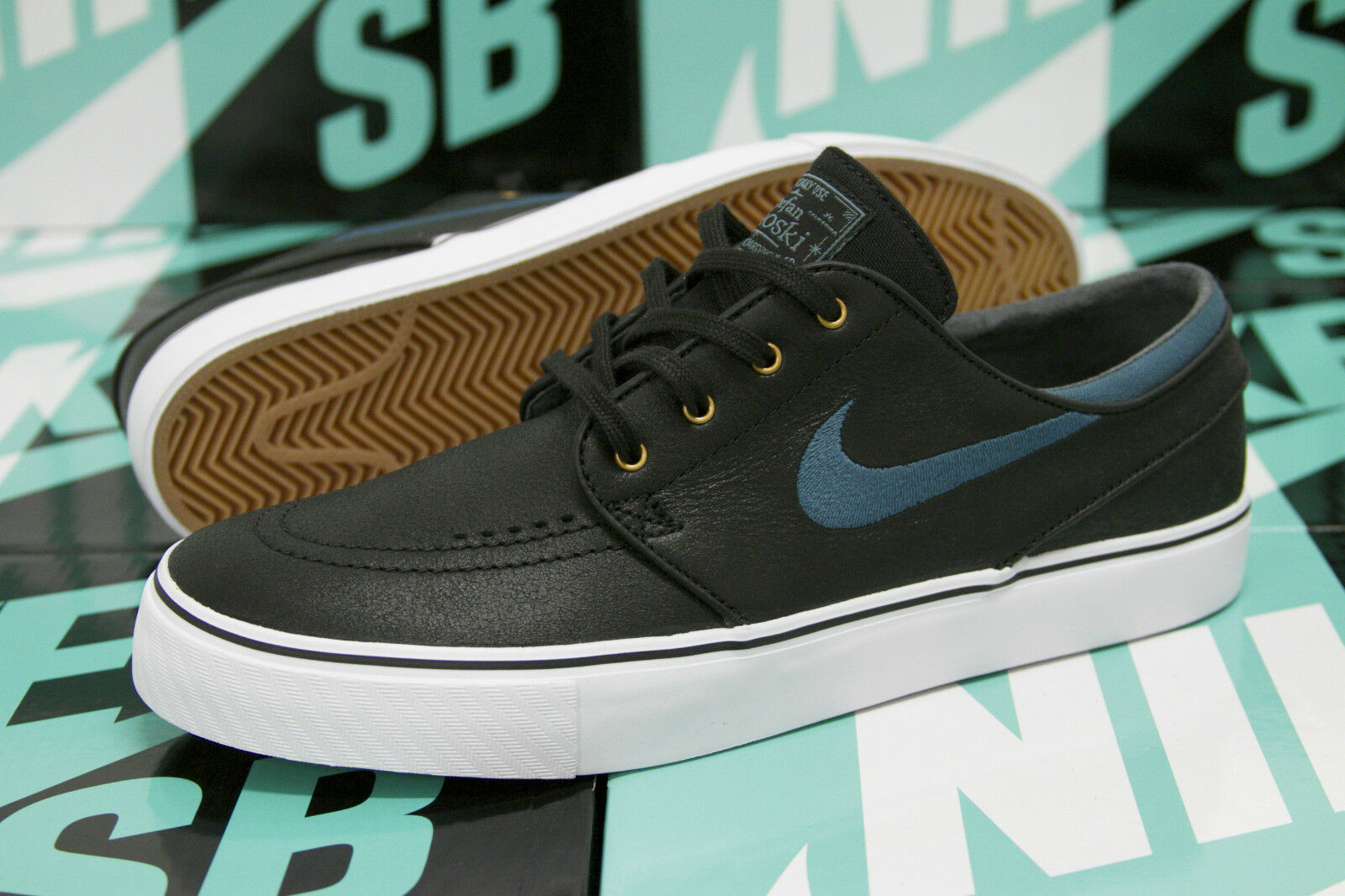 Nike SB Zoom Stefan Janoski Janoski Janoski Leather BLACK   NIGHT FACTOR 375361 007 DS SZ 8.5 1cd505