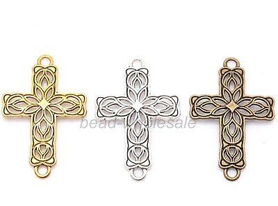 Wholesale 20pcs Antique Silver/Golden/Bronze Zinc Alloy Cross Connector