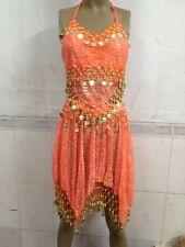 Belly Dance Sexy Costume Halter Sequin Top Bra Tribal Sequin Skirt Set Low price