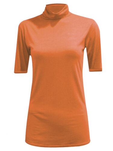 Femmes Femmes à manches courtes Polo Col Roulé Col Haut T-Shirt Grande Taille 8-26
