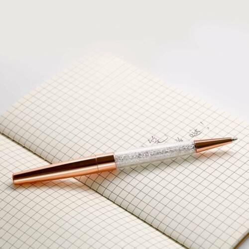 Rose Gold Diamond Crystal Ballpoint Pen Luxury Bling Metal Top Pens Wedding Gift