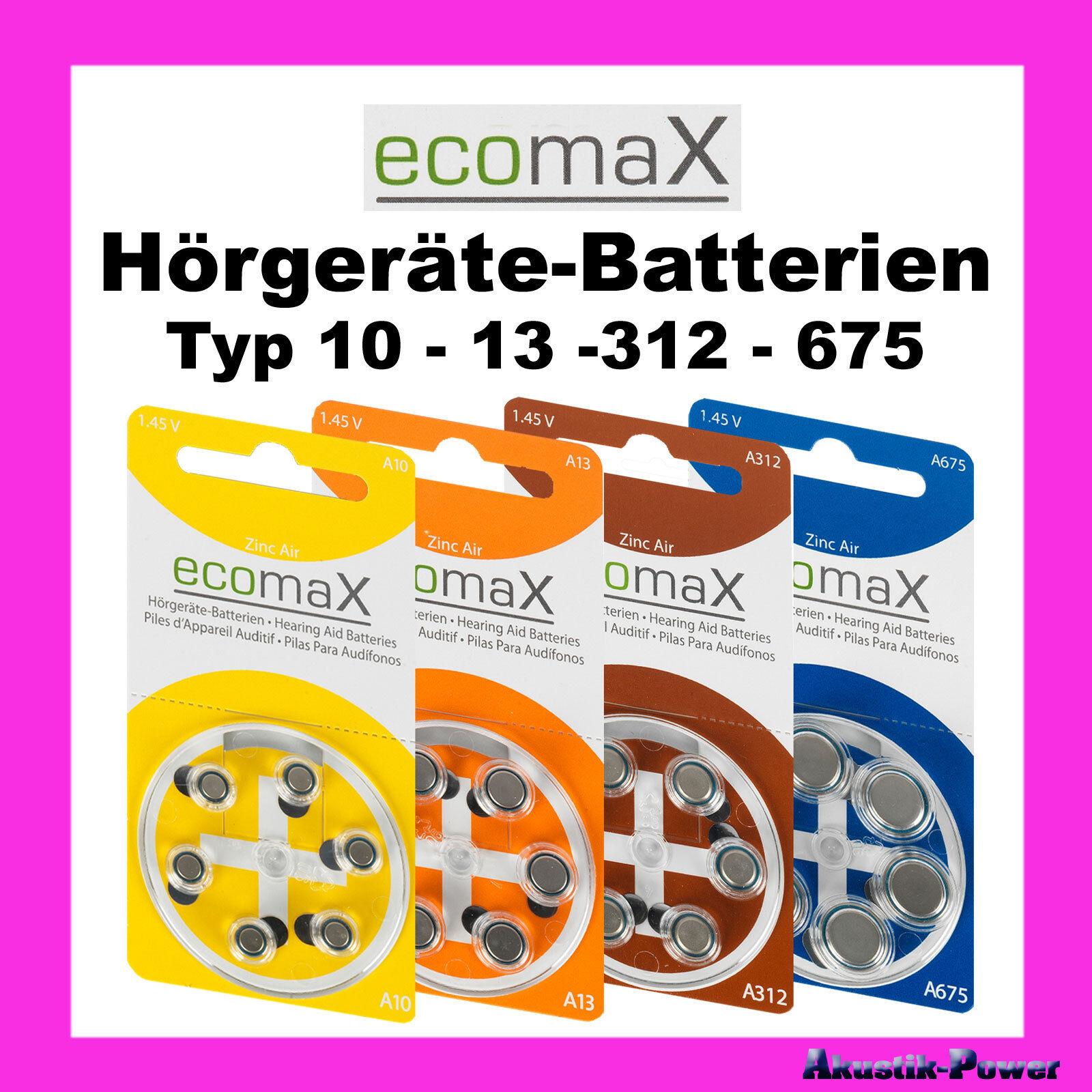 Ecomax Hörgeräte Batterien Typ 10 - 13 - 312 - 675 Auswahlsortiment | Queensland