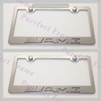 2x Mercedes Amg 3d Emblem Stainless Steel License Plate Frame Rust Free W/cap