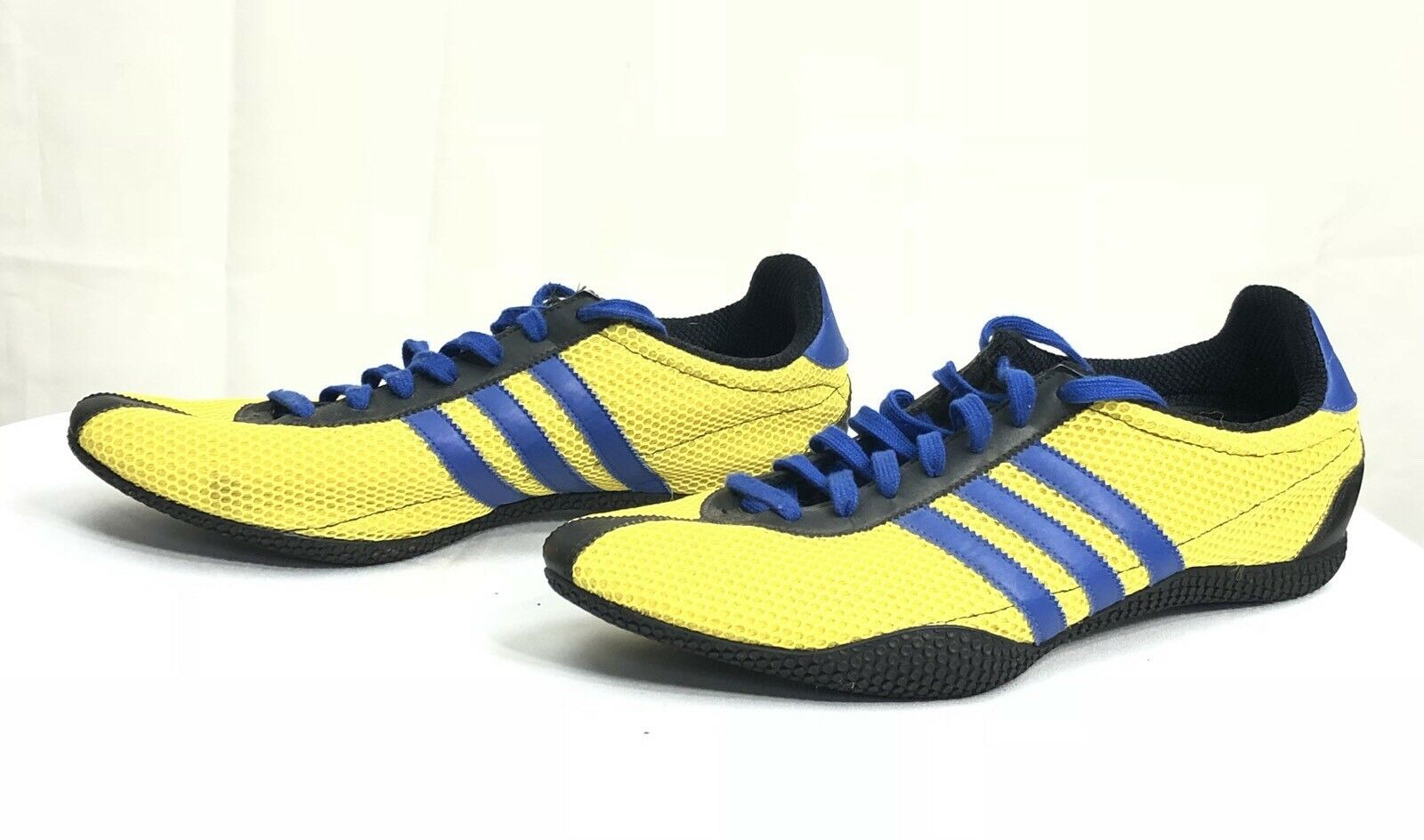 Adidas Originiaks Men Yellow Blue Three Strioed Lace Up Sneakers US 13 Excellent Brand discount