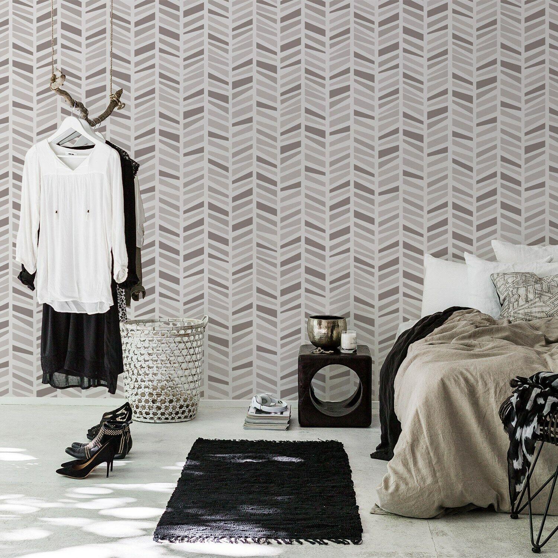Herringbone removable wallpaper Simple wall mural Geometric self adhesive
