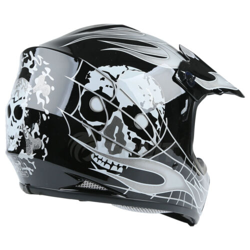 Youth Kids ATV Motocross Dirt Bike Black Skull Helmet w// Goggles+Gloves S//M//L//XL