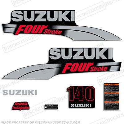 Suzuki 225 hp FourStroke Outboard Engine Decal Kit  MARINE VINYL Silver /& Red