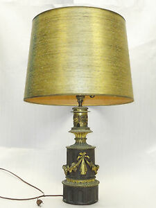 ANTIQUE-NEO-CLASSICAL-COPPER-BRASS-ELECTRIFIED-CONVERTED-OIL-LAMP