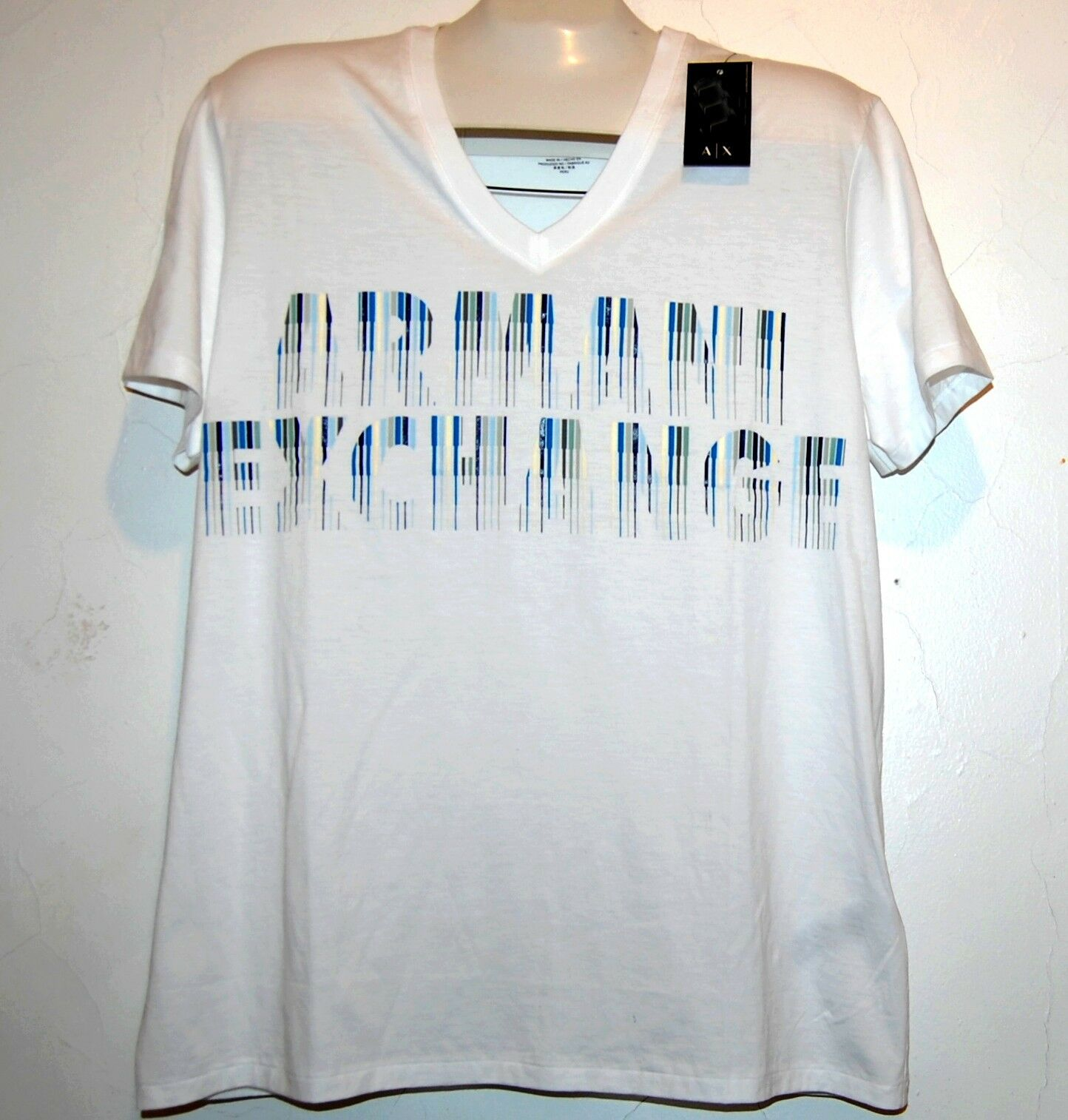 Armani Exchange White bluee Logo Cotton Short Sleeve Men's T-Shirt Size XL NEW