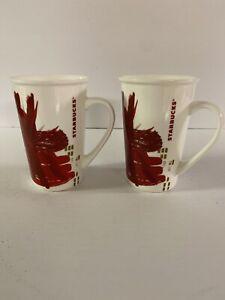 NEW 2 STARBUCKS  CHRISTMAS POINSETTIA FLOWER TALL COFFEE MUG RED 2014 12 OZ