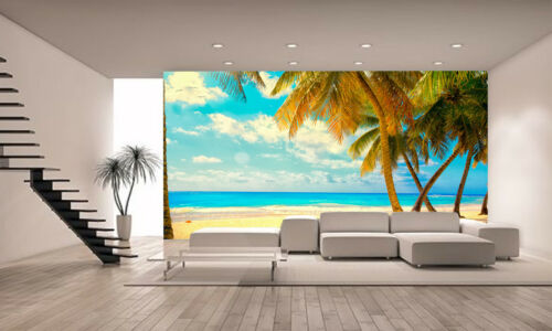 Calm beach with Palm tree  Wall Mural Photo Wallpaper GIANT DECOR Paper Poster