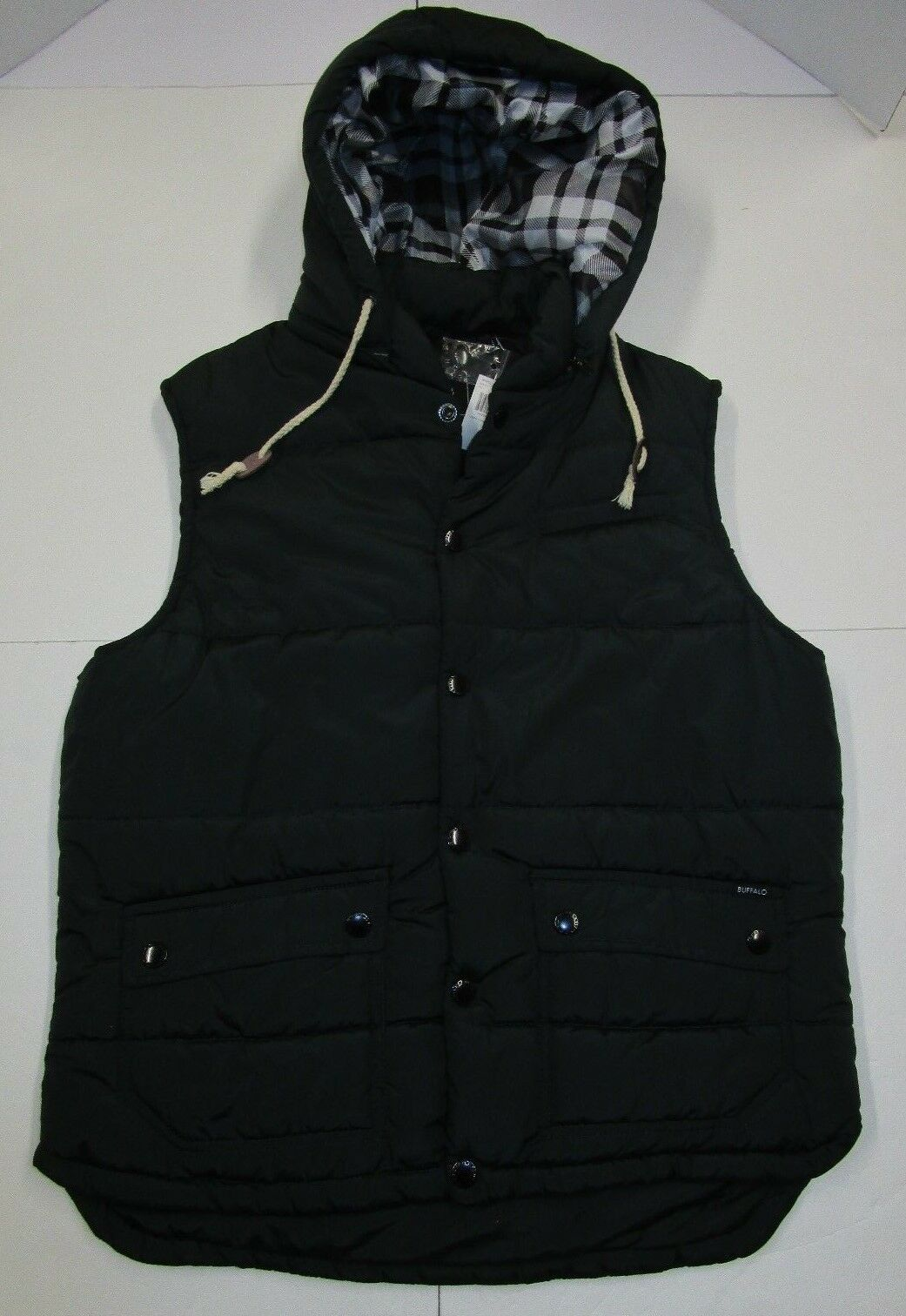 Nwt Mens Buffalo David Bitton Hunter Green Hooded Puffer Vest Large