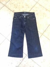 7 For All Mankind Jeans DOJO Cropped Dark Distressed Blue Denim Jeans Sz 25