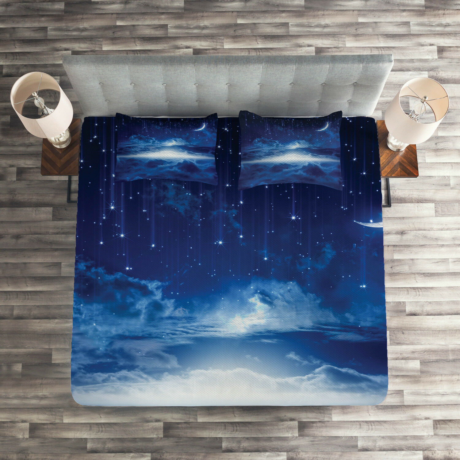 Blau Weiß Quilted Coverlet & Pillow Shams Set, Night Sky Moon Stars Print