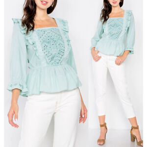 NEW-Pastel-Mint-100-Cotton-Embroidered-Eyelet-Ruffle-Square-Peplum-Blouse-Top