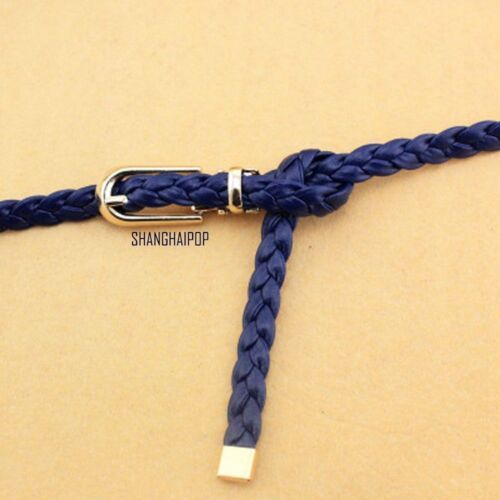 1cm Women Faux Leather Braided Woven Thin Belt Pin Buckle Waist Chain Waistband