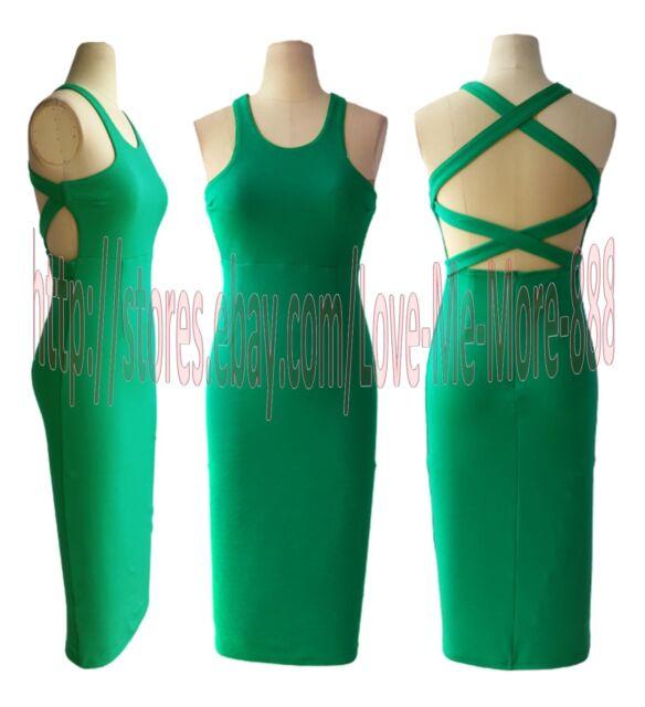 Sexy Celebrity Club Party Wear to Work Tight Slim Fit Stretch Bodycon Midi Dress