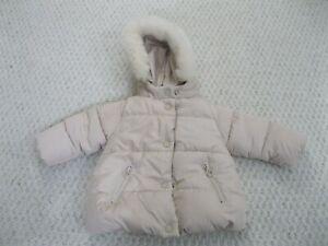 Zara BabyGirl Faux Fur Hood Zip Puffer Coat Beige Infant ...