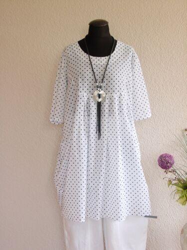 Moonshine Fashion° Süße Lagenlook Tunika Kleid Pünktchen ~ Weiß ~ 2 3