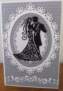 Wedding-Card-dancing-couple-silhouette-black-amp-white-on-grey-rhinestone-detail
