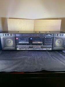 Vtg JVC PC-W47 Portable Boombox Stereo Radio Dual Cassette Player Recorder Works